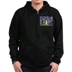 Starry Night Border Collie Zip Hoodie (dark)