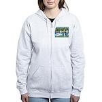 Sailboats & Border Collie Women's Zip Hoodie