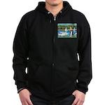 Sailboats & Border Collie Zip Hoodie (dark)