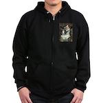 Ophelia & Boston Terrier Zip Hoodie (dark)