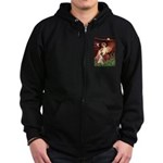 Seated Angel & Boxer Zip Hoodie (dark)