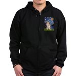 Starry Night / Cairn Terrier Zip Hoodie (dark)