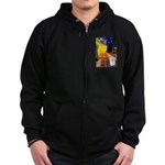 Cafe with Coton de Tulear Zip Hoodie (dark)