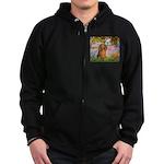 Garden -Dachshund (LH-Sable) Zip Hoodie (dark)