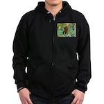 Irises & Dachshund Zip Hoodie (dark)