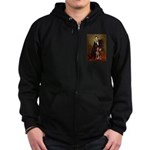 Lincoln's Red Doberman Zip Hoodie (dark)
