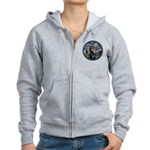 Starry Night Doberman (#1) Women's Zip Hoodie