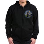 Starry Night Doberman (#1) Zip Hoodie (dark)