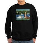 Sailboats /English Bulldog Sweatshirt (dark)