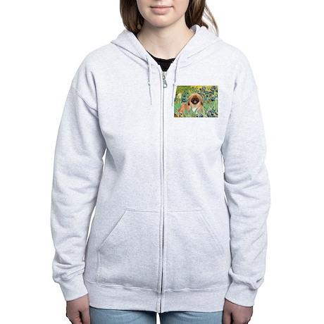 Irises / Pekingese(r&w) Women's Zip Hoodie