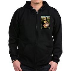 Mona / Pekingese(r&w) Zip Hoodie (dark)