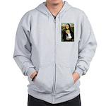 Mona / Pomeranian(r&w) Zip Hoodie