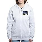 Starry/Pomeranian(r&w) Women's Zip Hoodie