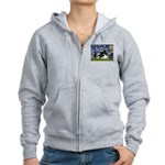 Starry Night / Pomeranian (b&w) Women's Zip Hoodie