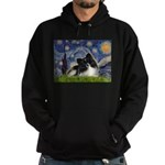 Starry Night / Pomeranian (b&w) Hoodie (dark)
