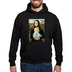 Mona Lisa/Poodle (white/toy) Hoodie (dark)