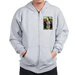 Mona Lia/Std Poodle (silver) Zip Hoodie
