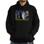 Starry Night / 2 Poodles(b&w) Hoodie (dark)