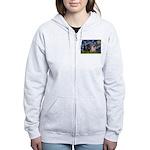 Starry Night / 2 Pugs Women's Zip Hoodie