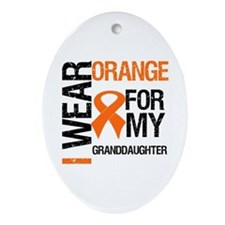 I Wear Orange Granddaughter Oval Ornament