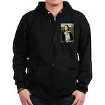 Mona Lisa/Schnauzer (#2) Zip Hoodie (dark)