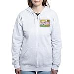 Garden / Corgi (bm) Women's Zip Hoodie