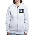 Starry Welsh Corgi (Bl.M) Women's Zip Hoodie