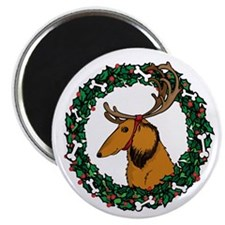 Christmas Wreath Longhaired Dachshund Magnet