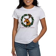 Christmas Wreath Longhaired Dachshund Tee