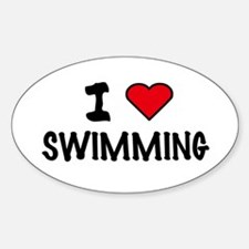 I LOVE SWIMMING Oval Decal