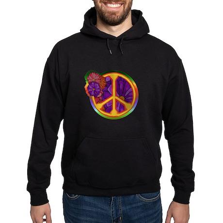 Flower Power Peace Sign Hoodie (dark)
