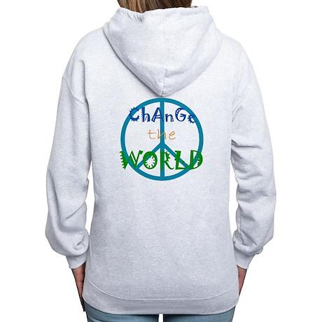 Change The World Peace Sign Women's Zip Hoodie