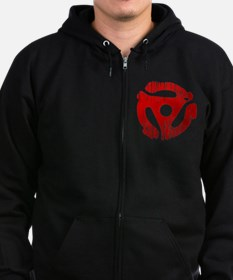 Distressed Red 45 RPM Adap Zip Hoodie