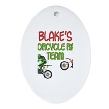 Blake's Motorcycle Racing Oval Ornament