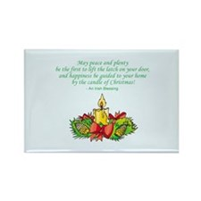 Christmas Candle Peace Love Rectangle Magnet