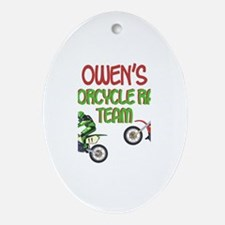 Owen's Motorcycle Racing Oval Ornament