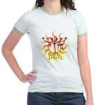 Chai Menorah Sun Jr. Ringer T-Shirt