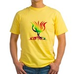 Rainbow Menorah Yellow T-Shirt
