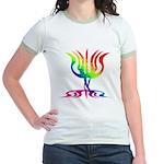 Rainbow Menorah Jr. Ringer T-Shirt