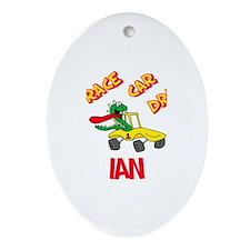 Ian Race Car Driver Oval Ornament