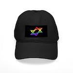 Rainbow Star of David Black Cap