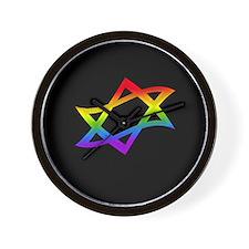 Rainbow Star of David Wall Clock