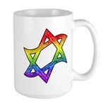 Rainbow Star of David Large Mug