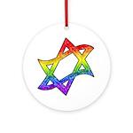 Rainbow Star of David Ornament (Round)