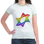 Rainbow Star of David Jr. Ringer T-Shirt
