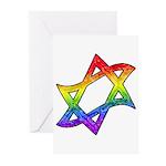 Rainbow Star of David Greeting Cards (Pk of 10)