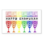 Rainbow Happy Chanukah Rectangle Sticker