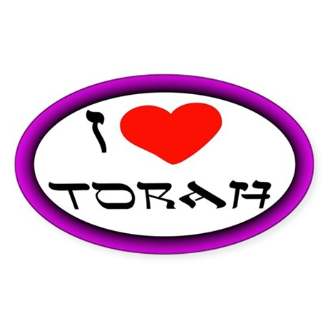 I Heart Torah Oval Sticker