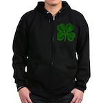 Lucky Four Leaf Clover Zip Hoodie (dark)