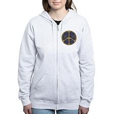 Blue Peace On Earth Vintage Zip Hoodie